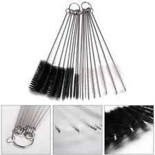 10pcs Nylon Brushes Set Stainless steel Rod Drinking Glasses Keyboards Cleaning