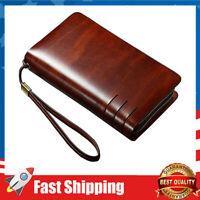 Men Genuine Leather Clutch Bag RFID Blocking Large Zip Clutch Wallet