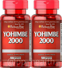 2X Puritan's Pride Yohimbe Bark 2000 mg Male Sexual Health total 100 Capsules