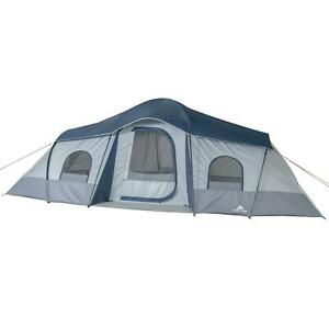 10-Person 3-Room Cabin Tent 2 Side Entrances & Mesh Roof w/ Carry Buffle Bag