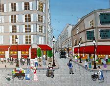 """Gabriel Donnet - """"Vieux Paris"""" Art Naïf -Tableau original Acrylique sur panneau"""