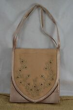 VINTAGE RAYNE mink coloured satin evening bag handbag with beaded panel RARE