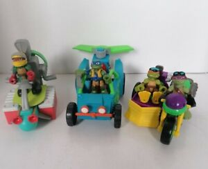 TMNT Half Shell Heroes Dune Duster + Sewer Cruiser + Motorcycle with sidecar etc