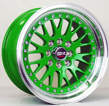 4 DRIFT DR1 WHEELS 15X8 GREEN 4X100 SCION XA XB IQ TOYOTA COROLLA ECHO MR2 J