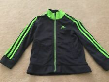 Toddler boys girls ADIDAS Gray with lime green 3 strip zip up athletic jacket