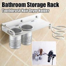 3-in-1 Hair Dryer Holder Wall Mount Hanging Rack Organizer Hook Bathroom Bracket