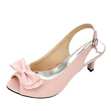 IDOMCATS Womens Bow Peep Toe Ribbon Party Office High Heels Elegant Sandals Size