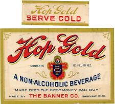 Prohibition Banner Brewery Hop Gold Beverage Bottle Label +neck - Saginaw Mi