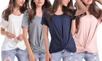 """Leo Rosi Women's Navy Blue Twist Knot Stretch Top """"Maggie"""" Blouse Casual New XL"""