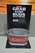 More details for genuine budweiser bud oval ice bucket & glorifier kit display sign pub bar new