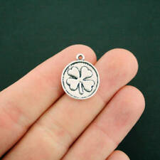 4 Four Leaf Clover Charms Antique Silver Tone Lucky Charm - SC7013