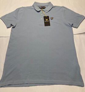Boys Size 14-15 Years Lyle & Scott Chambray Blue Polo Shirt Short Sleeve Top