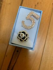 Letter 5 Crystal Rhinestone Brooch & Camellia Flower Suit Pin Set ( Set for 2 )
