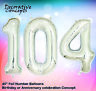 "Giant 104th Birthday Party 40"" Foil Balloon Helium Air Decoration Age 104 SILVER"