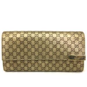 GUCCI Micro Shima GG Logo Gold Leather Long Bifold Wallet /E0765