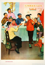 Original Vintage Poster Chinese Cultural Revolution Girl in Red with Family 1974
