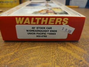 HO Scale, Walthers 40' Stock Car #932-2762 Union Pacific #49503 New original box
