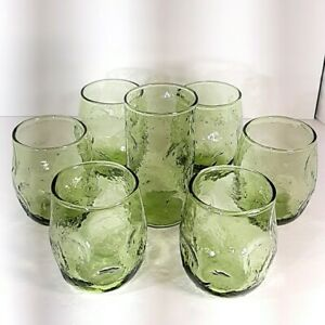 Set of 7 Vintage MCM Anchor Hocking 9 oz Lido Milano Roly Poly Tumblers - Green