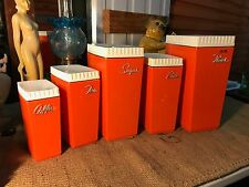 Retro Vintage Australian 1960's Capri Burnt Orange Plastic Kitchen Canisters