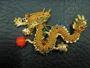 Vintage? Brooch & Pendant Oriental Dragon w/ Glass Bead, Rhinestones & Dangles