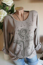 ITALIE HAUT PULL extra-large Ancre rivets tunique taupe Taille Unique 36 38 40