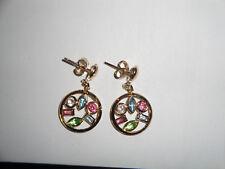 Orecchini in Argento 925 placcato oro cerchio pieno di cristalli multicolore