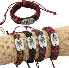 Wholesale 12pcs Punk Handmade Leather Alloy Maple Leaf Accessories Bracelets