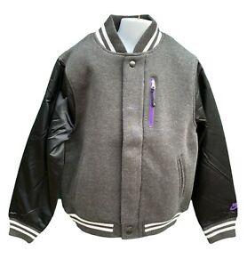 New NIKE Sportswear NSW Boys Varsity Jacket Black Grey Purple Trim 10-12 Years M