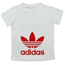 adidas Originals Kinder Trefoil Tee Jungen T-Shirt Baumwolle Weiß Rot 74 86