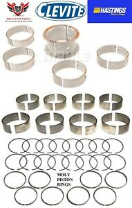 Chevy Chevrolet 327 350 68 - 95 Clevite Rod - Main Bearings Hasting Moly Rings