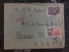 1927 Tallinn Estonia Register Cover to Chicago Il USA