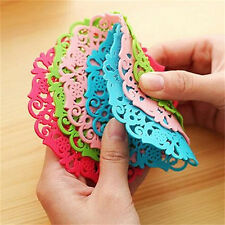 Silicone Coasters Round Drink Coasters Lace Stain Resistant Placemat  YH