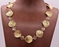 Filigree Wavy Textured Necklace 14K Yellow Rose Gold Clad Silver 925 QVC 18""