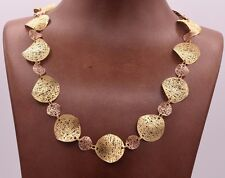 """Filigree Wavy Textured Necklace 14K Yellow Rose Gold Clad Silver 925 QVC 18"""""""