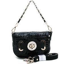 New Anais Gvani Women Handbag Faux Leather Purse Crossbody Bag Baguette Black