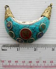 Old Tibet Tibetan Buddhist  Shell Amulet Om Mani Padme Hum