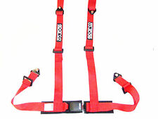 """Sparco Racing Street 4 Point Bolt-In 2"""" Seat Belt Harness (Red)"""