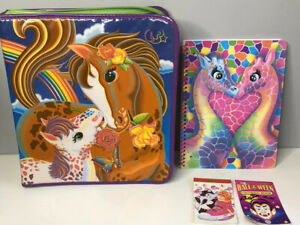 Vintage Lisa Frank Horse Vinyl 3 Ring Binder Zippered Folders Notebook + Extras