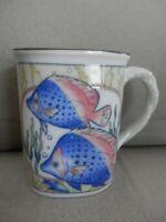 Cayman Islands Souvenir Coffee Cup Mug, Fish, Sea Blue Interior, EUC