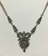 """Estate Jewelry Vintage Marcasite Flower Bow Necklace Sterling Silver 21"""""""