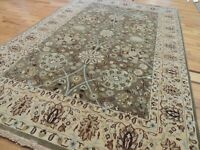 Pakistani Tabrize 4x6 Oriental Area Rug Wool Green Gold Teal hand-knotted