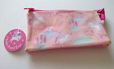 3-POCKET Unicorn Rainbow PENCIL CASE PVC Plastic ZIP NET STORAGE POUCH Believe