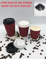 8/12/16oz RED DISPOSABLE PAPER CUPS FOR HOT DRINKS WITH LIDS STRONG RIPPLE CUPS