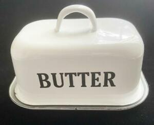 "Enamelware Retro Farmhouse Butter Dish white w Black Trim 4.5"" Tall 7.5 Length"