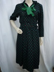 GERARD PASQUIER noir à pois verts vintage PUR SIXTIES robe TAILLE 38/40
