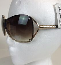 Steve Madden Sunglasses Shield Mask Gold Brown Designer Shades w/Rhinestones