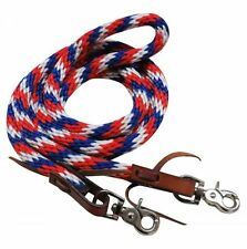 WESTERN SADDLE HORSE NYLON ROPE BARREL RACING CONTEST REINS RED WHITE BLUE