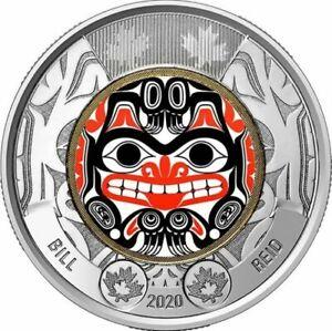 2020 Canada Bill Reid's birth - Haida Art $2 COLOURED Toonie -- from roll