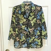 Notations Top size Large Sheer Black 3/4 sleeve Blouse w/ Blue Green Floral