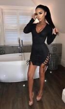 UK Women Deep V Neck Long Sleev Lace up Side Bodycon Party Club Mini Short Dress Black XL